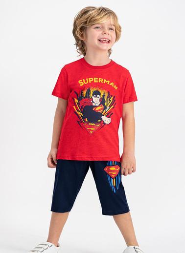 Superman  Lisanslı Grimelanj Erkek Çocuk Kapri Takım Kırmızı
